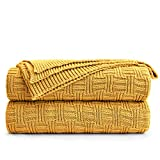 Large 100% Cotton Yellow Cable Knit Throw Blanket for Couch Sofa Bed with Bonus Laundering Bag – Large 60 x 80 Thick, 3.4 LB, Machine Washable, Comfortable Home Décor
