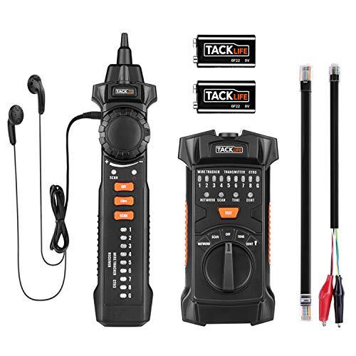 Wire Tracker, Tacklife RJ11 / RJ45 Kabelfinder Leitungssucher, Leitungssucher mit NCV-Sonde, für die Sortierung von Ethernet-LAN-Netzwerkkabeln, Telefonkabeltester und Durchgangsprüfung - CT03
