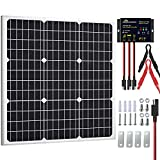SOLPERK 50W Solar Panel Kit 12V, Monocrystalline Solar Panel Charger Off Grid with Intelligent Waterproof Controller for Boat Car RV Motorcycle Tractor Marine Automotive