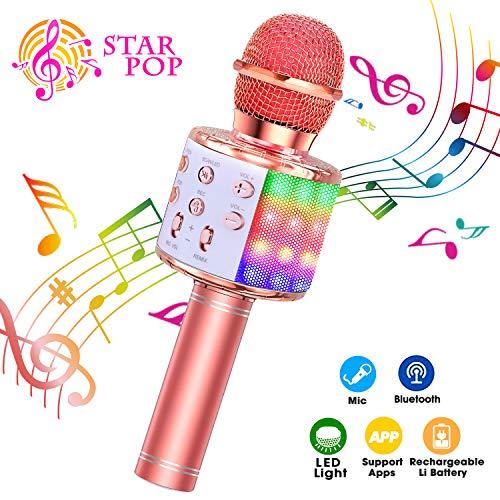 BlueFire Karaoke Mikrofon, Bluetooth Mikrophon mit Aufnahme, Dynamisches Licht Drahtlose Tragbares Handmikrofon mit Lautsprecher für Erwachsene und Kinder, Kompatibel mit Android IOS PC(Roségold)