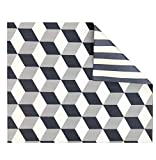 Play with Pieces, Reversible Play Mat, Grey Geo Stripe