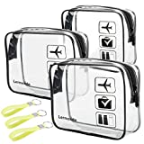 3pcs Lermende TSA Approved Toiletry Bag with Zipper Travel Luggage Pouch Carry On Clear Airport Airline Compliant Bag Travel Cosmetic Makeup Bags for Men Women Silicone Handle - Black