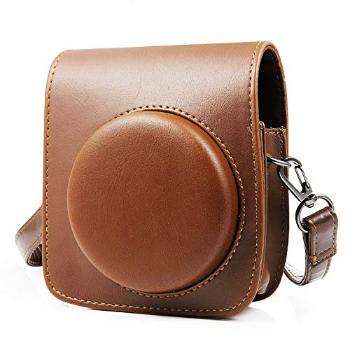Bolsas de cámara para Fujifilm Instax Mini 90, MOOKLIN Fundas para cámara PU Leather Case Bag Bolsa de Hombro Individual con Dibujos Animados y Bolsillo para Cámara Fujifilm Instax Mini 90 - Marrón