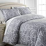 Boho Paisley Collection - Premium Quality, All-Season Down Alternative Easy Case, Over-Sized 3-Piece Comforter Set, Full / Queen, Grey