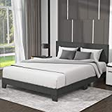 Allewie Queen Size Upholstered Platform Bed Frame with Headboard, Fabric Upholstered Mattress Foundation, Strong Wood Slat Support and Metal Legs, Box Spring Optional, Easy Assembly, Dark Grey