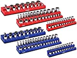 ARES 60058-6-Pack Set Metric and SAE Magnetic Socket Organizers -Blue and Red -1/4 in, 3/8 in, 1/2 in Socket Holders - Holds 143 Pieces of Standard (Shallow) and Deep Sockets -Organize Your Tool Box