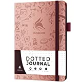 Clever Fox Dotted Journal 2.0 - Compact Planning and Sketching Dot Grid Notebook 120 GSM Thick, No-Bleed Paper - Planner with Pen Loop, Pocket, Ribbons, Stickers - A5 - Rose Gold