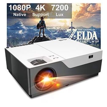 """Projector, Artlii Stone Full HD 1080P Projector Support 4K, 7200L 300"""" Home Theater Projector, 8000:1 Contrast Ratio Compatible w/HDMI, Laptop, PPT Presentation"""