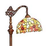 Bieye L30515 65 pulgada Girasol Lámpara de pie de lectura del vitral del estilo de Tiffany