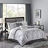 Madison Park MP10-4045 Lavine 12 Piece Jacquard Comforter Set, Silver, King