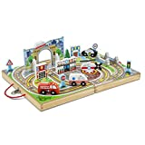 Melissa & Doug Take-Along Town (Wooden Portable Play Surface, 18 Pieces, Great Gift for Girls and Boys - Best for 3, 4, and 5 Year Olds)