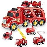 BIMONK Camion Voiture de Pompier pour Enfants de 3 Ans et Plus, Comprenant Un...