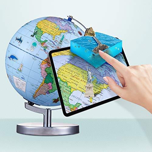 Globe terrestre interactif de réalité augmentée pour enfants, globe lumineux pour l'apprentissage de la géographie avec application interactive, jouet pour garçons et filles, jouet éducatif cadeau