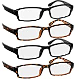 Reading Glasses 1.5 2 Black & 2 Tortoise Fashion Readers for Men & Women - Spring Arms & Dura-Tight Screws Have a Stylish Look and Crystal Clear Vision When You Need It!