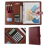 MAATCHH Cartera Carpeta Grupo PU Maletín Carpeta calculadora Business Case y Bloc de Notas Conferencia para la Oficina (Color : Maroon, Size : 334x245mm)