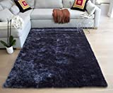 LA Designer Shaggy Shag High End Designer Quality Flokati High Pile Soft Iridescent Sheen Ultra Plush Soft Pile Solid Pattern 8-Feet-by-10-Feet Polyester Made Area Rug Carpet Rug Gray Grey Colors