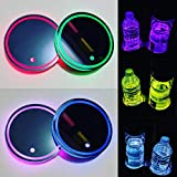 LED Car Cup Holder Lights,7 Colors Changing USB Charging Mat Waterproof Cup Pad, LED Interior Atmosphere Lamp Decoration Light Car Accessories