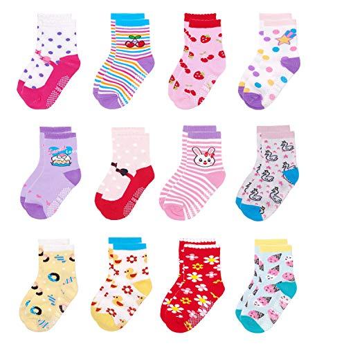 Yafane 12 Paia Calzini Bambina Neonato Ragazza Antiscivolo Cotone Calze per Ragazze Bambine 1-5 Anni (Rosa A, 3-5 Anni)