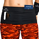 AVANTO Slim Fit Running Belt with Zippered Wrist Wallet, Phone Holder for Running, Passport Holder, Travel Money Belt, Waist and Fanny Pack for Women and Men, Feels Like Second Skin(Black, XL)