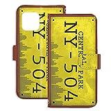 PU手帳型 ミラータイプ スマホケース iPhone 12 mini 5.4インチ 用 ナンバープレート・セント……