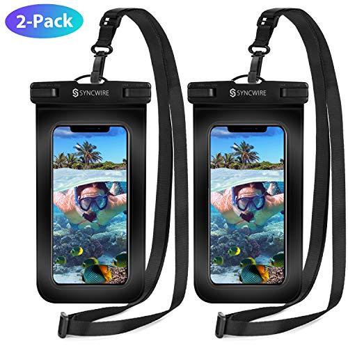 Syncwire Custodia Impermeabile Smartphone Borsa - 2 Pezzi 7 Pollici IPX8 Porta Cellulare Subacquea Universale con Cordino Regolabile Finestre Trasparenti per Telefono iPhone Redmi Samsung Huawei.