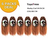Toyo Tress Ombre Brown Marley Hair For Twists 18 Inch 6packs Long Afro Marley Braid Hair Synthetic Fiber Marley Braiding Hair Extensions (18', T30)