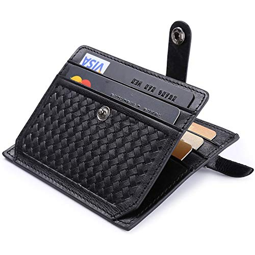 flintronic® Cartera Tarjeta de Crédito, Slim RFID Bloqueo Monedero de Cuero, Mini Billetera para Tarjetas de Crédito, el Estilo Tejida (Negro)