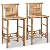 Festnight Set of 2 Bamboo Bar Stools with Backrest and Footrest Counter Height Pub Chair Barstool Kitchen Dining Room Bistro Cafe Furniture 20.9' x 17.7' x 40.2' (W x D x H)