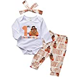 ASTRILL Baby Boy Girl Clothes Thanksgiving Bodysuit+Turkey Pant+Headband 3PCS Outfits(0-6 Months,White)