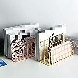 Organizador De Archivos De Escritorio Escritorio Magazine Rack de 3 capas de hierro Revista Archivo de Libro de almacenamiento en rack Soporte Suministros de oficina compartida Para la organización de