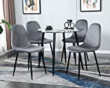 STYLIFING Dining Table Set Modern 5 Pieces Dining Room Set Mid Century Round Tempered Glass Kitchen Table and 4 Deep Grey Modern Velvet Fabric Upholstered Kitchen Chair with Metal Legs