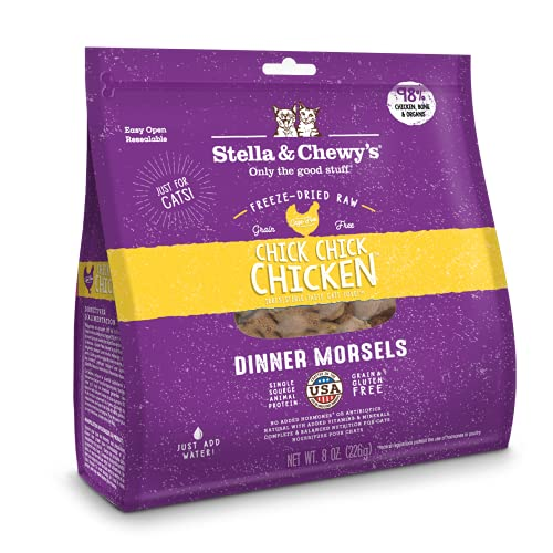 Stella & Chewy's Freeze-Dried Raw Chick, Chick, Chicken Dinner Morsels Grain-Free Cat Food, 8 oz bag