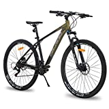 Hiland 29 Inch Mountain Bike Aluminum Hydraulic Disc-Brake 16-Speed 18 Inch with Lock-Out Suspension Fork Urban Commuter City Bicycle Gold Black