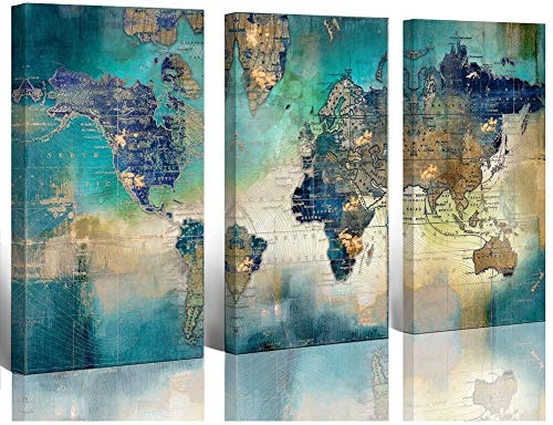 Large World Map Canvas Prints Wall Art for Living Room Office...