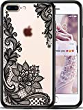 iPhone 8 Plus / 7 Plus Frosted Matte Slim Protective Phone Case | Cool Aesthetic Black Lotus Flower Design | Cute Floral Design for Women and Girls | Shockproof | Includes Screen Protector 7 + / 8 +