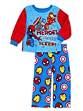 Marvel Super Hero Adventures Toddler Boys Long Sleeve Fleece Pajamas Set (3T, Blue/Red)
