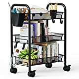Greensen 3 Tier All-Metal Rolling Cart, Laundry Office Bathroom Storage Organizer Cart with Wheels, Easy-Carry and Assembly Mesh Trolley Cart with Practical Bucket and Hooks, Slide-Out Narrow Shelf