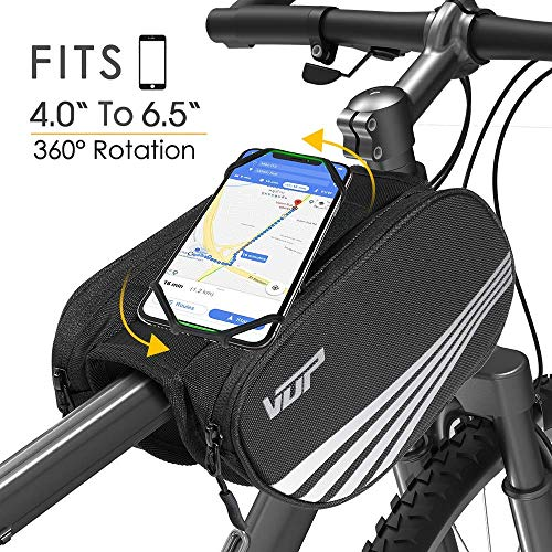 VUP Bike Front Frame Bag, Universal Bicycle Motorcycle Handlebar Bag, Top Tube Bike Bag with 360 Rotation Cell Phone Holder for iPhone 11 Pro/XS MAX/XR/X/7/8 Plus, Galaxy S9/8/7/6/Note, Nubia, Huawei
