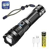 Torche Lampe de Poche XHP50 LED USB Rechargeable 3000Lumens Lampe Torche IPX4...
