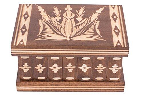 Caja de Joyas tipo Puzzle 2 en 1 - Estuche de Madera Hecho a Mano Con Llave Oculta Y Compartimentos Removibles - Hermosa Caja de Madera Clásica Por Kalotart - Puedo Guardar Tu Secreto? Est.1770