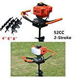 52CC Petrol Gas Powered Post Hole Digger Earth Auger 2.4ps 2-Stroke with 3pcs Earth Auger Drill 3 Bits 4' 6' 8'' and 12'' Extention Rod