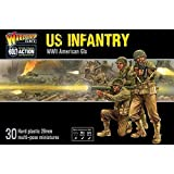 BOX ENTHÄLT 30 MINIATUREN - Beinhaltet 30 Infanteristen der US-Armee aus 28 mm Plastik. EINGESCHLOSSENE WAFFEN - M1 Garand-Gewehr, Browning-Automatikgewehr, Thompson- und Fettpistolen-Maschinenpistolen, M1-Karabiner, Panzerfaust, Colt .45-Pistole, Sp...