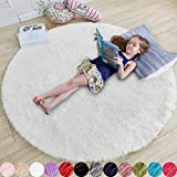 White Round Rug for Bedroom,Fluffy Circle Rug 4'X4' for Kids Room,Furry Carpet for Teen's Room,Shaggy Circular Rug for Nursery Room,Fuzzy Plush Rug for Dorm,White Carpet,Cute Room Decor for Baby