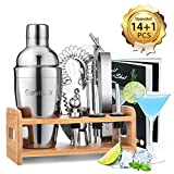 Godmorn 14 pièces Cocktail Set Bar Kit Bar Tool Set, Shaker à Martini en Acier Inoxydable de 500ml...