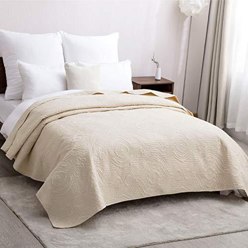 Bedsure Tagesdecke Schlafzimmer 220x240 cm, Bettüberwurf 220x240 weiße Gesteppte überdecke tagesdecke 220 240 samt