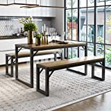 Amolife 3 Pcs Kitchen Dining Room Furniture, Metal Frame and MDF Board Dining Table with Bench, Kitchen Contemporary Home Furniture