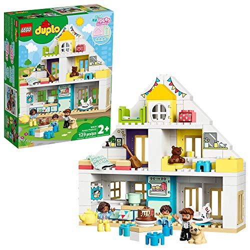 LEGO DUPLO Town Modular Playhouse 10929 Dollhouse with Furniture and a Family, Great Educational Toy for Toddlers, New 2020 (129) Pieces