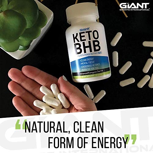 Giant Sports Keto Pills Clean Energy Weight Loss BHB Salt | Advanced Ketosis for Burning Fat and Ketones On The Ketogenic Diet | Natural Boost Perfect for Men Women, 60 Capsules 4