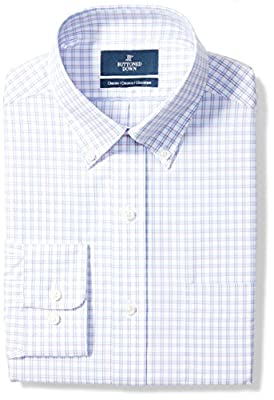 Long-sleeve check pattern non-iron dress shirt featuring pocket at chest, offered in variety of collar types Luxury Supima cotton with a lightweight finish; straight back yoke with center box pleat Satisfaction Guarantee: If you are not completely sa...