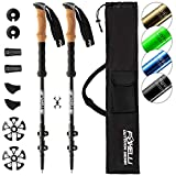 Foxelli Aluminum Trekking Poles  Collapsible, Lightweight, Aluminum 7075 Hiking Poles, Walking & Running Sticks with Natural Cork Grips, Quick Locks, 4 Season/All Terrain Accessories and Carry Bag